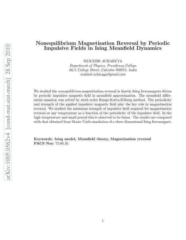 Muktish Acharyya - Nonequilibrium Magnetisation Reversal by Periodic Impulsive Field in Ising Meanfield Dynamics