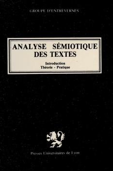 Cover of: Analyse semiotique des textes | Groupe d'Entrevernes.