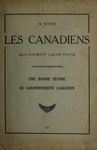 Cover of: A tous les Canadiens que aiment leur pays |