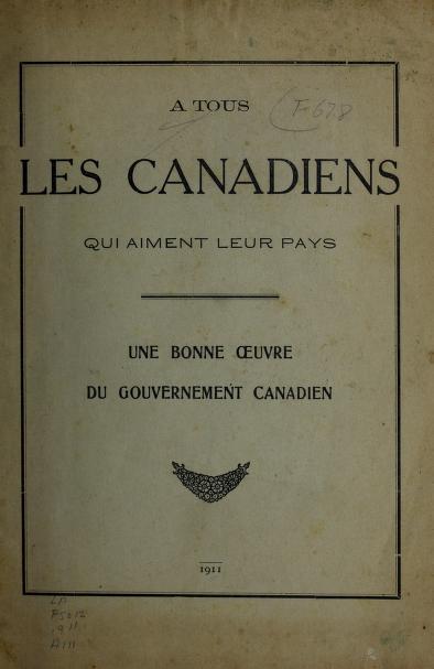 A tous les Canadiens que aiment leur pays by